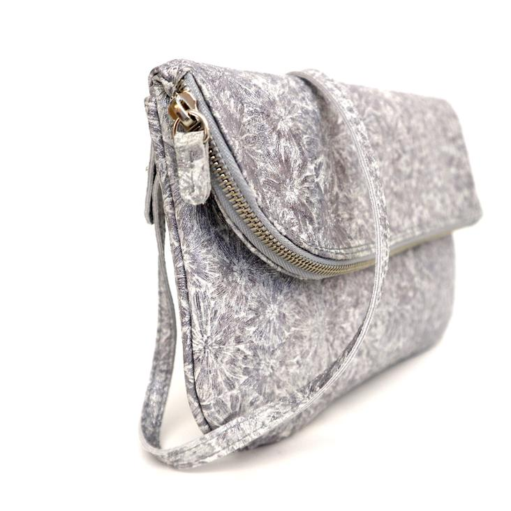 Griesbach – Couture Clutch in silberweissem Rauleder in Metallic-Optik - 0